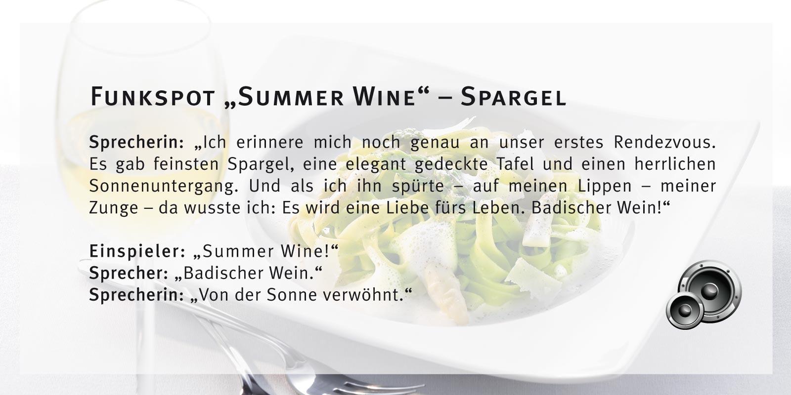 Badischer Wein – Funkspot Spargel