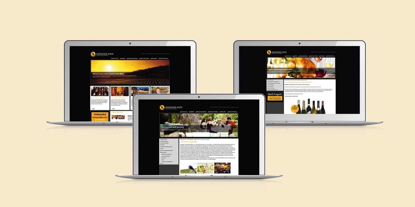 Badischer Wein – Internetauftritt Desktop