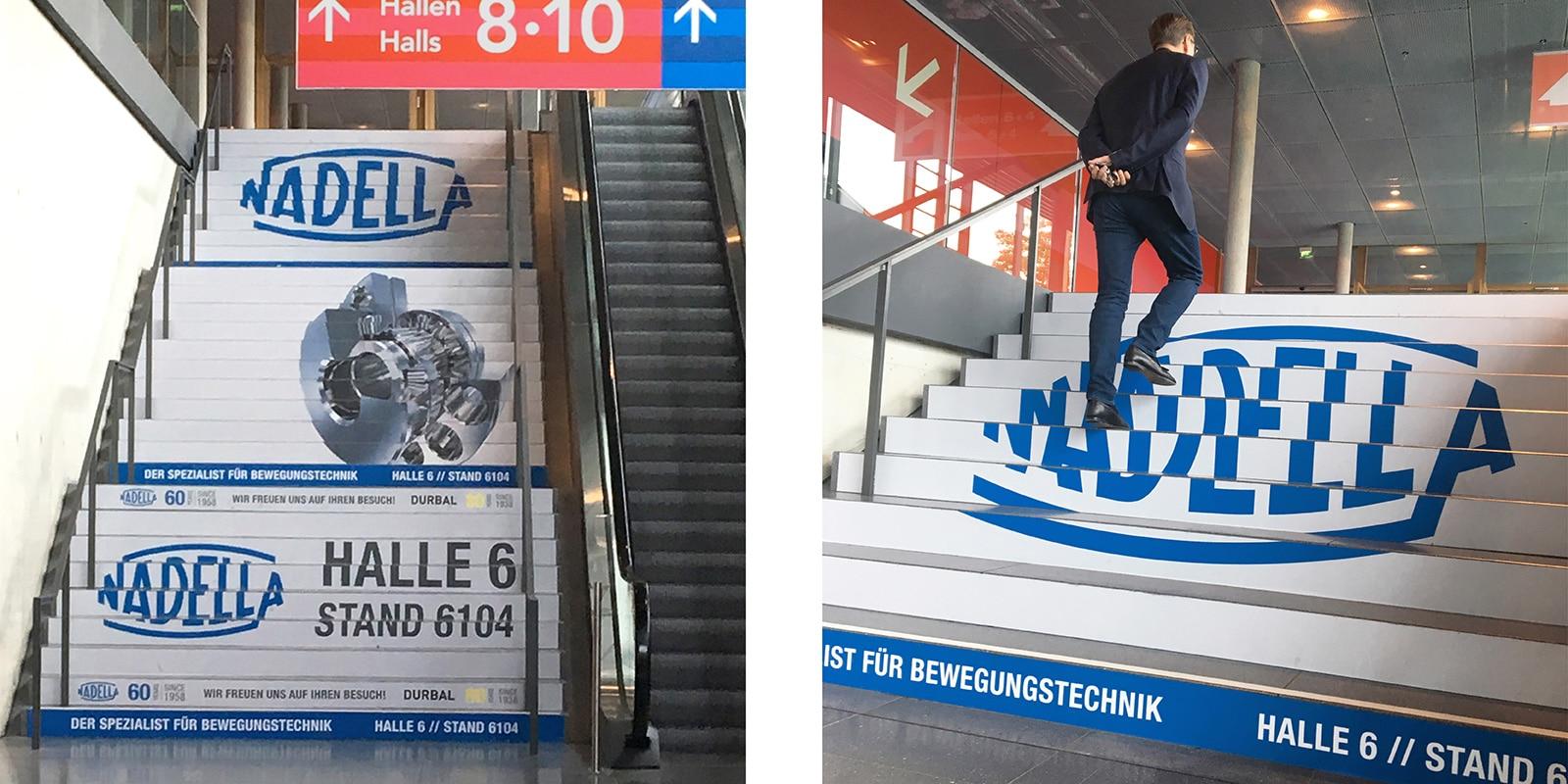 Nadella Motek 2018 – Messe-Treppengestaltung